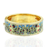 Ruby Hand Painted Enamel Bangle Bracelet 18k Gold Christmas Gift