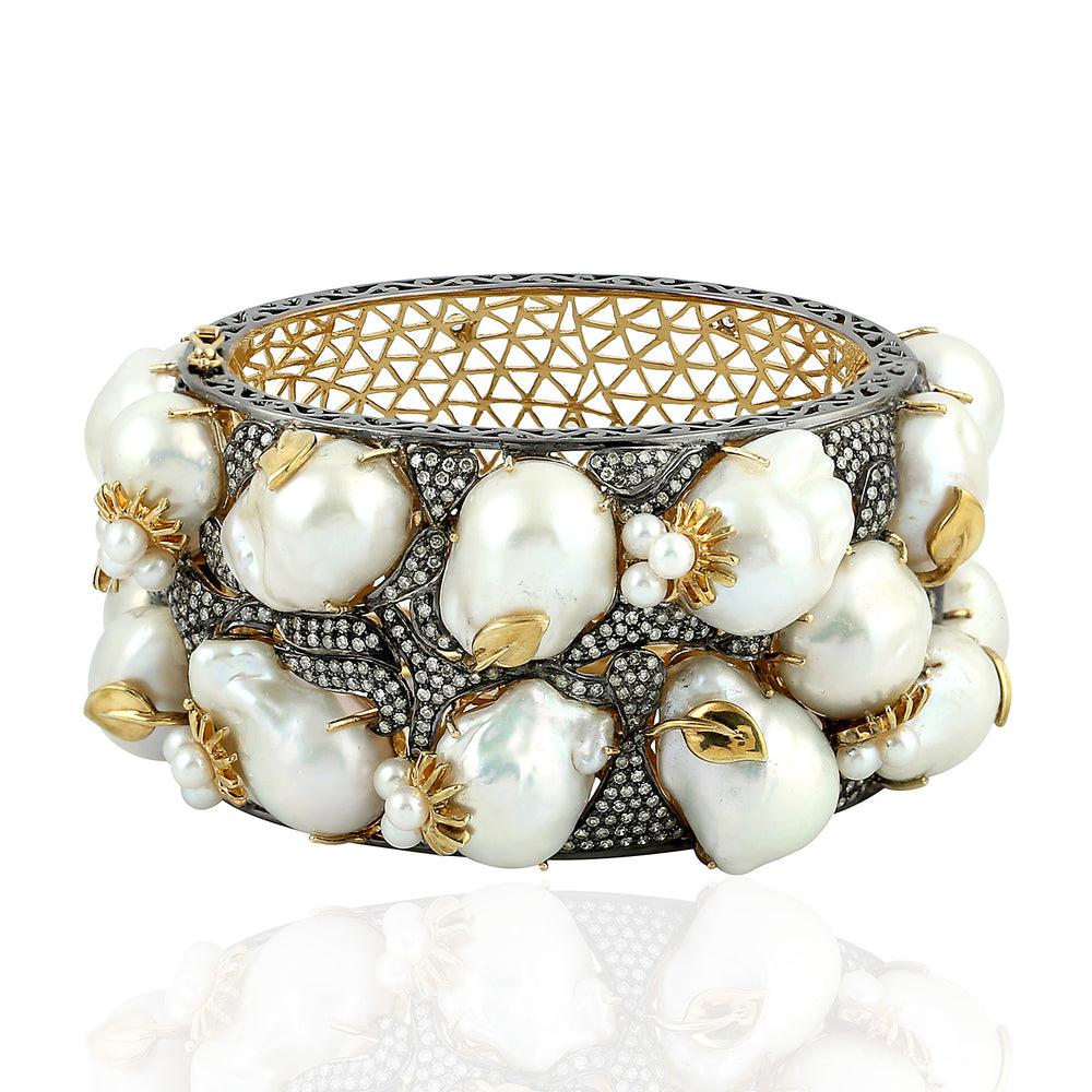 925 Sterling Silver Gold 3.48ct Diamond 8.82ct Baroque Pearl Bangle