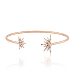 18kt Rose Gold and Pave Diamond Starburst Cuff Bangle Christmas Gift