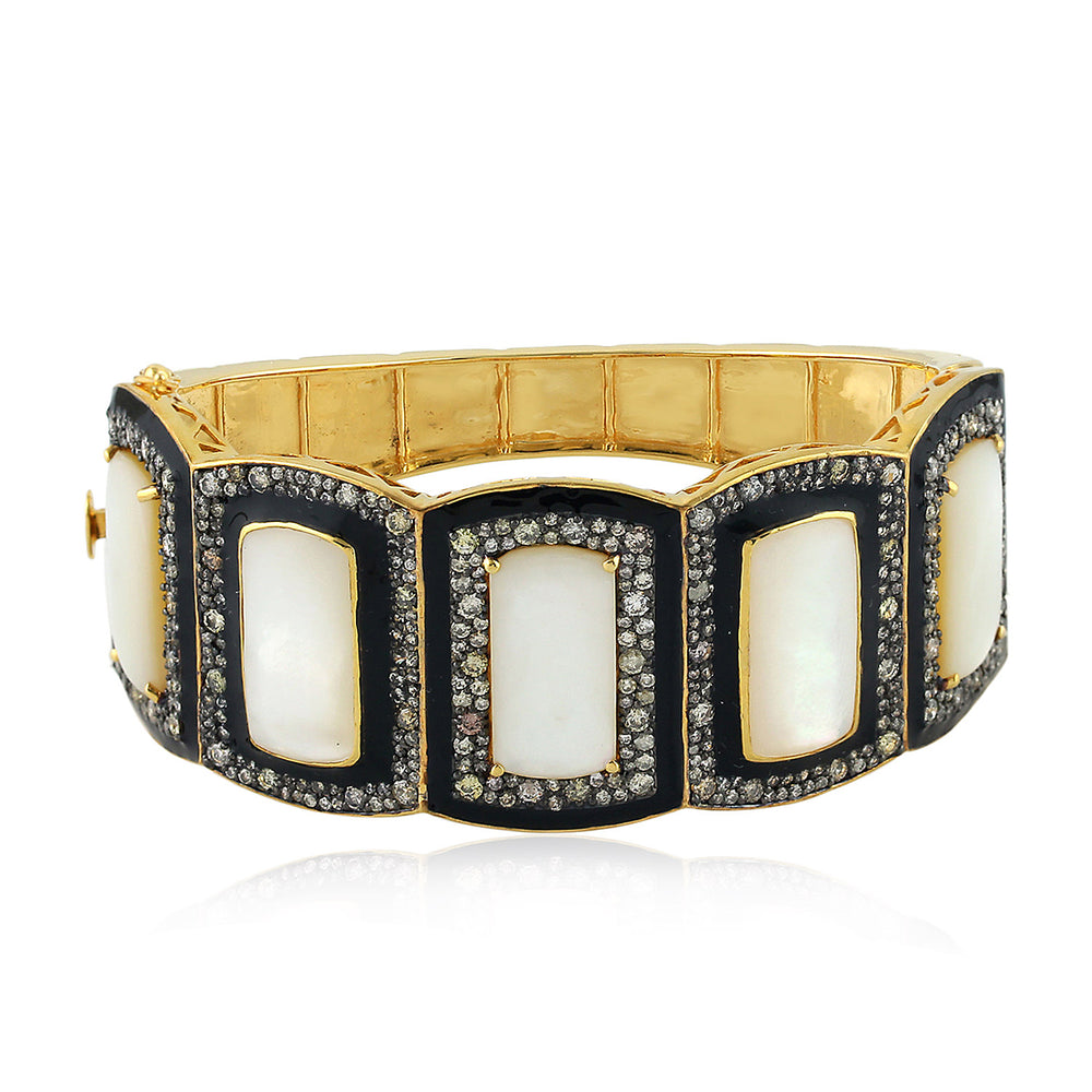 925 Silver Pave Diamond Bracelet Mother Of Pearl Bangle 18K Gold