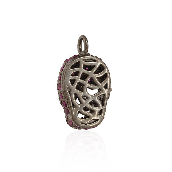 Ruby Pave Skull Charm 925 Silver Jewelry