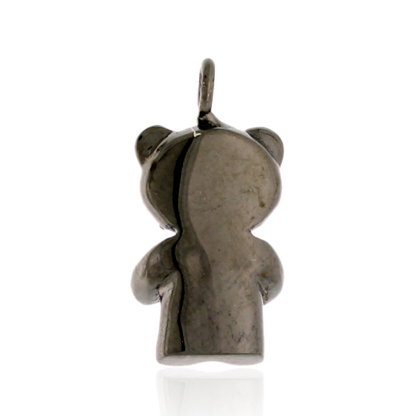 Teddy Bear Charm Pave Diamond Silver Jewelry