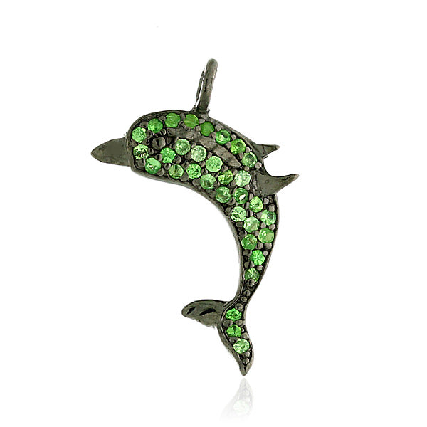 Dolphin Design Charm Pendant 0.25ct Pave Tsavorite Sterling Silver Gift Jewelry