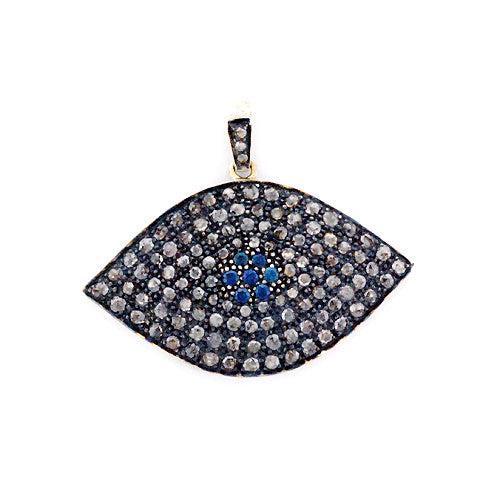 0.42ct Sapphire Pave Diamond .925 Sterling Silver Marquise Shape Pendant Jewelry