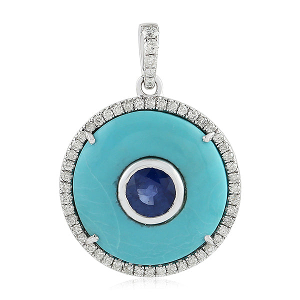 Blue Sapphire 0.28ct Pave Diamond Turquoise Gemstone White Gold Pendant