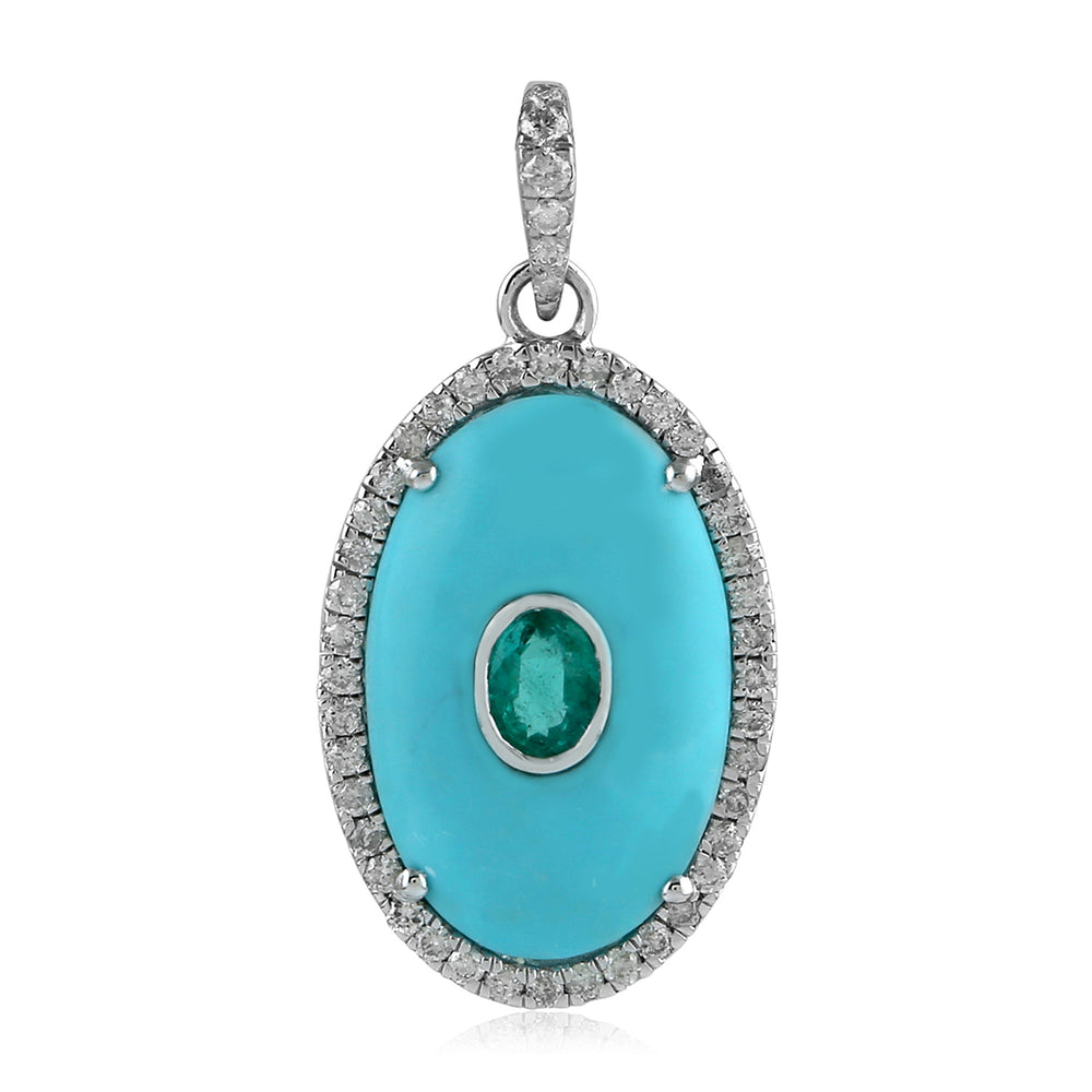 White Gold and Pave Diamond Turquoise Gemstone Friendship Day Jewelry