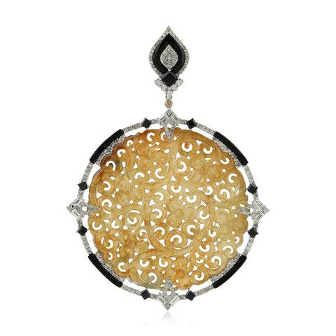 18kt Gold Pave Diamond 40.1 ct Gemstone Sterling Silver Handmade Pendant Jewelry