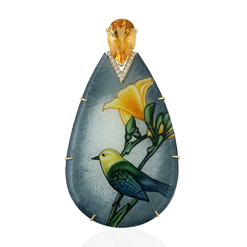Bakelite Hand Printed Enamel Bird Pendant 4.1ct Citirne Diamond 18k Yellow Gold