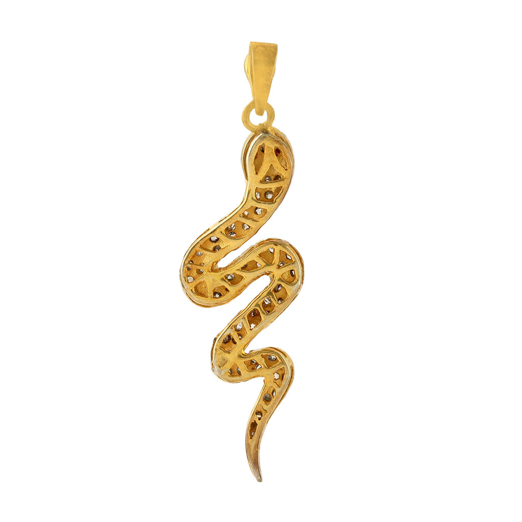 Snake Charm Pendant In Pave Diamond Jewelry