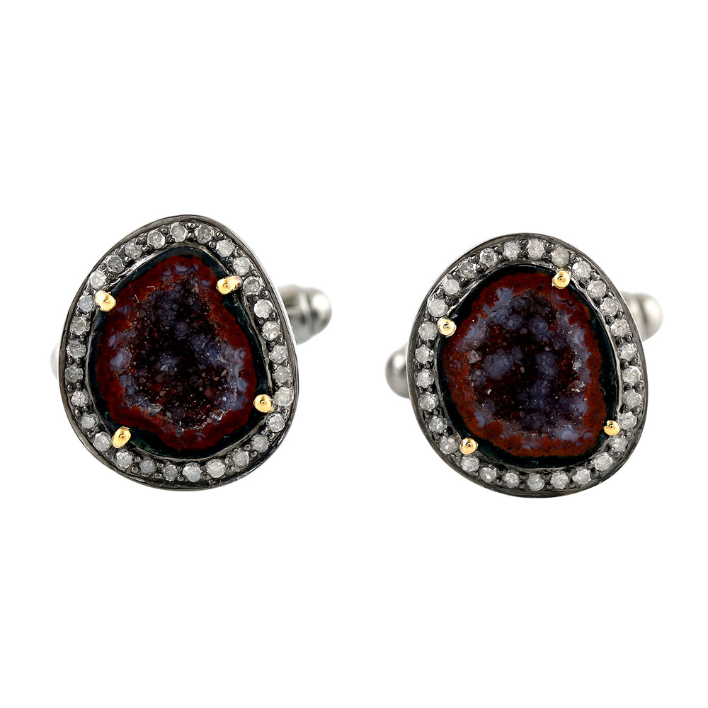 7.7Ct Natural Geode Cufflinks 18K Yellow Gold 925 Sterling Silver Jewelry