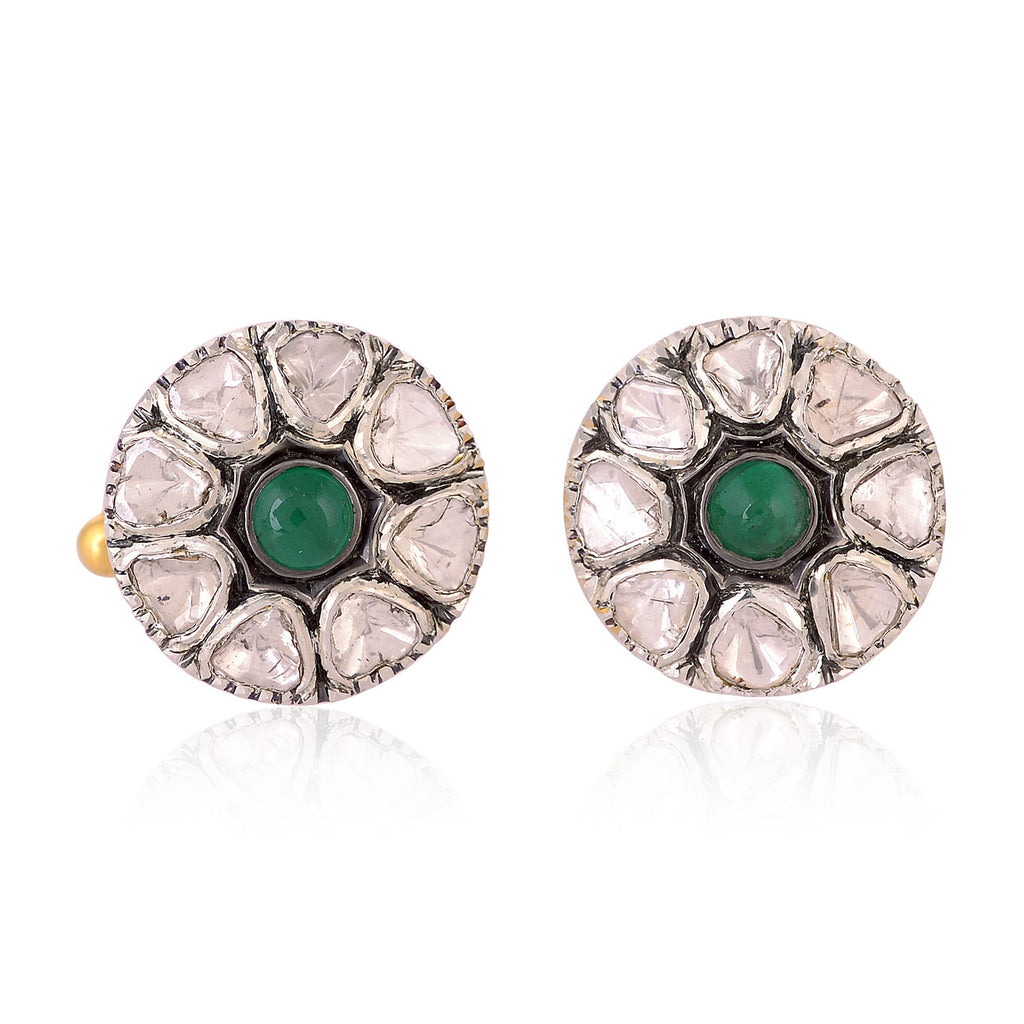 1.30ct Emerald Rose Cut Diamond 18k Gold Sterling Silver Cufflinks Jewelry
