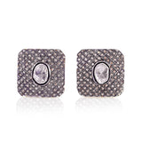 Handmade 1.23ct Pave Diamond Sterling Silver Cufflinks Men's Jewelry