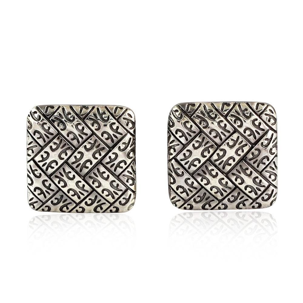925 Sterling Silver Engraved Cufflinks Handmade Fasihon Jewelry For Mens