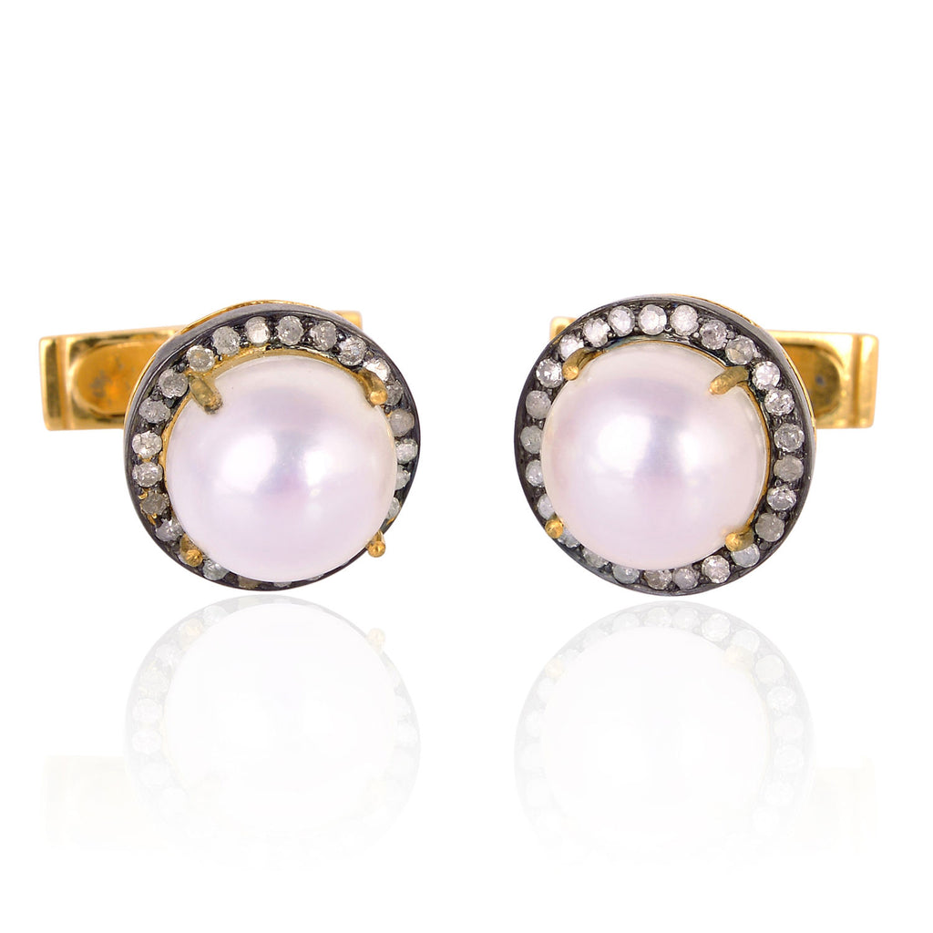13.0ct Pearl Diamond 18kt Gold Cufflinks Sterling Silver Christmas Gift Jewelry