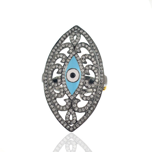 Pave Diamond 18K Gold Silver Evil Eye Marquise Shape Ring Enamel Jewelry