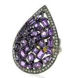 Amethyst Diamond Gold Sterling Silver Pear Shape Ring Jewelry