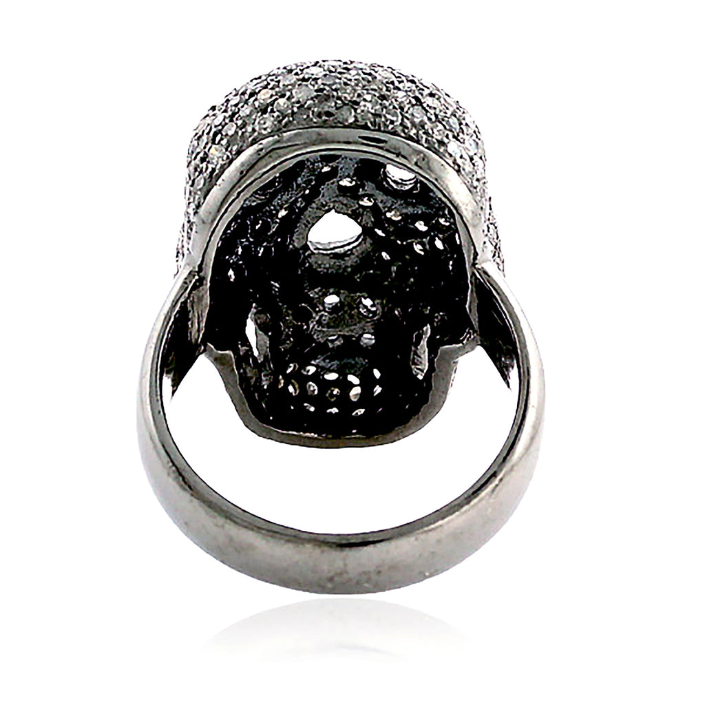 Pave Diamond Skull Finger Ring With 925 Silver Jewelry