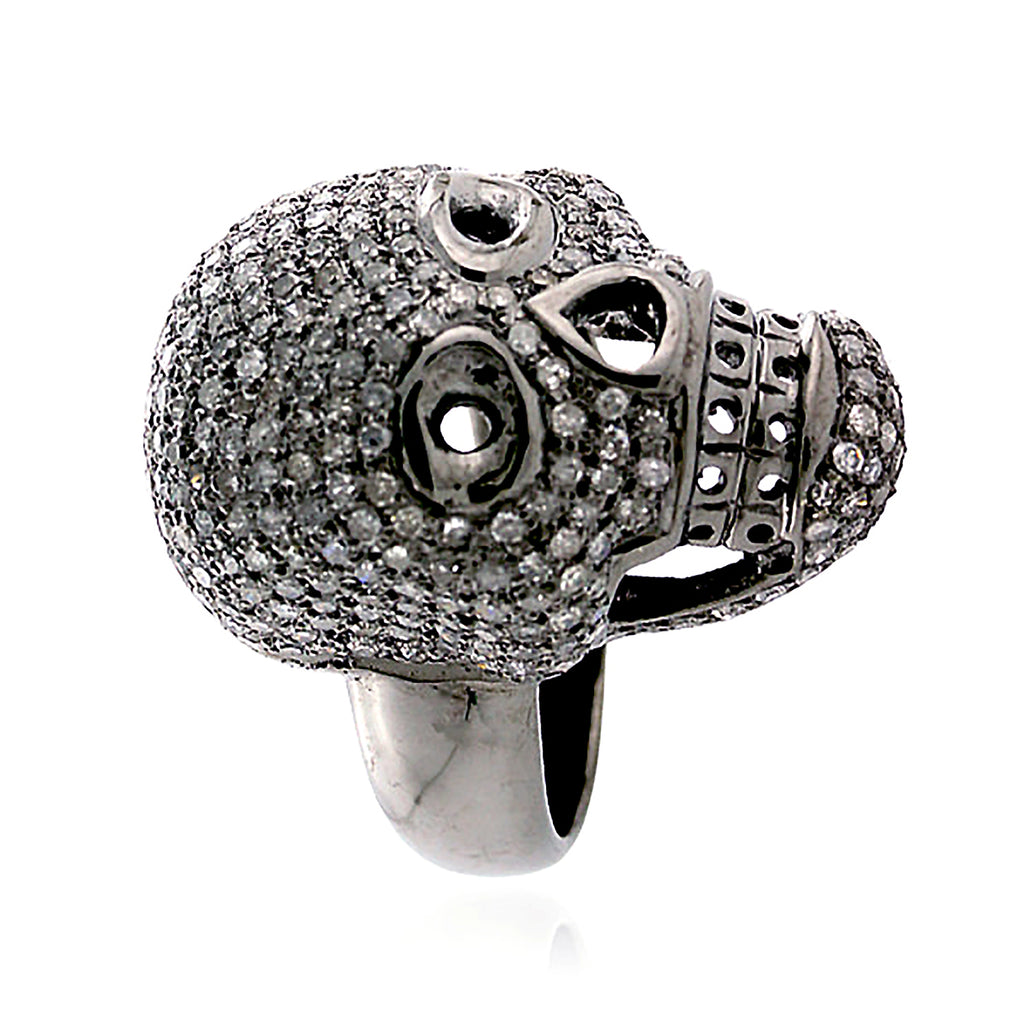 Pave Diamond 925 Sterling Silver Skull Ring Handmade Jewelry Halloween Sale _