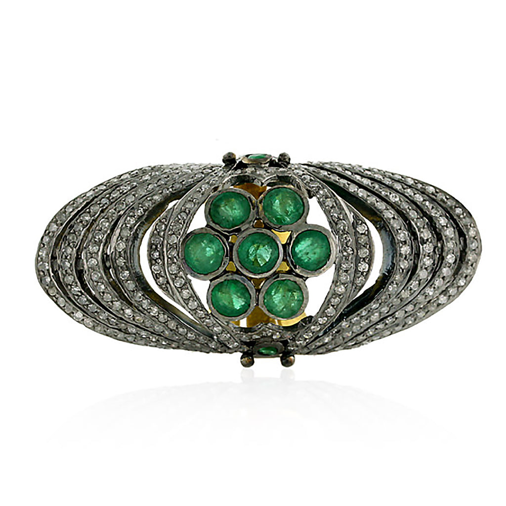 18k Gold 2.3ct Pave Diamond Emerald Knuckle Ring 925 Silver Designer Jewelry