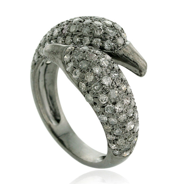 Pave Diamond Designer Finger Ring 925 Sterling silver Mettlle jewelry
