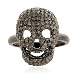 1.5ct Natural Diamond Pave Skull Ring 925 Sterling Silver Halloween Jewelry