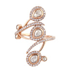 New Arrivals Natural Pave Diamond 18K Solid Rose Gold Designer Long Ring Jewelry