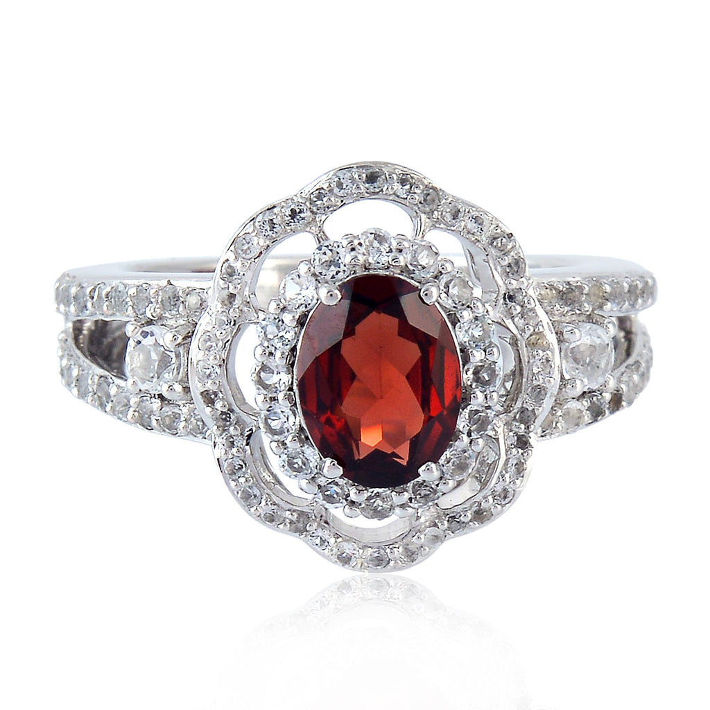 Genuine Pave Topaz Red Garnet Engagement Ring Sterling Silver Womens Jewelry