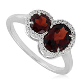 Natural White Topaz Red Garnet Engagement Ring Sterling Silver Women Jewelry