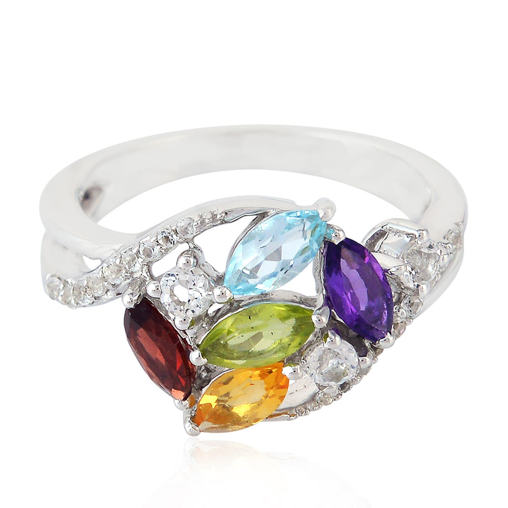 925 Sterling Silver Citrine Amethyst Cocktail Ring January Birthstone Jewelry