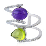 Designer Ring Size 7 Oval Prong Set Amethyst Gemstone 925 Sterling Silver February Birthstone Jewelry
