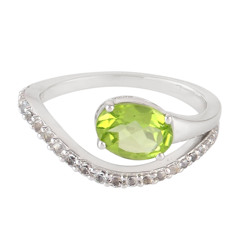 Peridot Silver Ring August Birthstone Jewelry