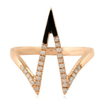 0.17Ct Natural Diamond Pave V Shaped Ring 14K Rose Gold Jewelry Size Us 7