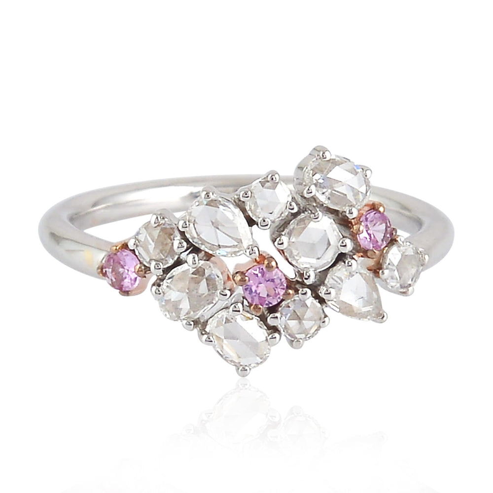 18K Solid White Gold Rose Cut Diamond Pink Sapphire Cluster Ring Valentines Gift