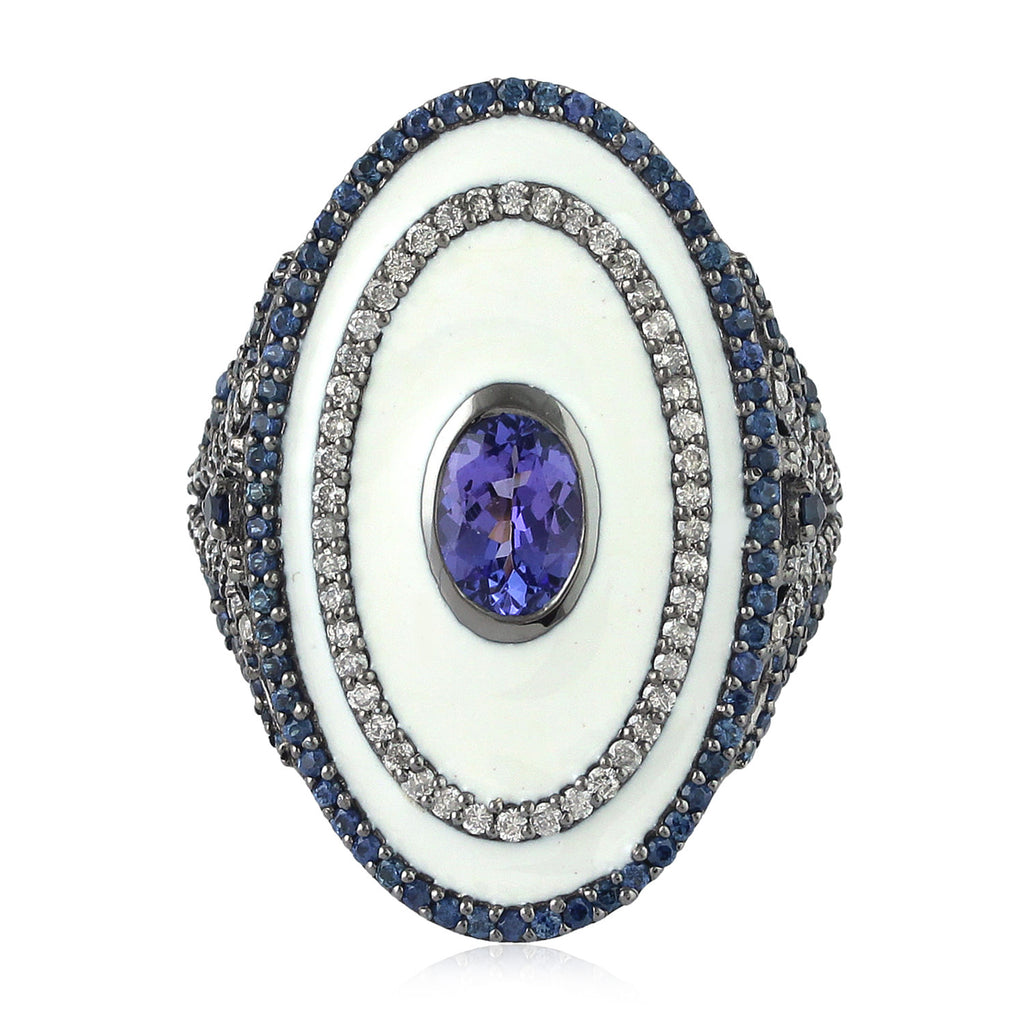 Blue Sapphire 0.64ct Pave Diamond Sterling Silver Tanzanite Ring 18k Yellow Gold