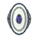 Cocktail Ring Sapphire Diamond Silver 18K Gold Jewelry