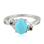 Silver 925  0.03 Ct Turquoise Cocktail Ring December Birthstone Jewelry