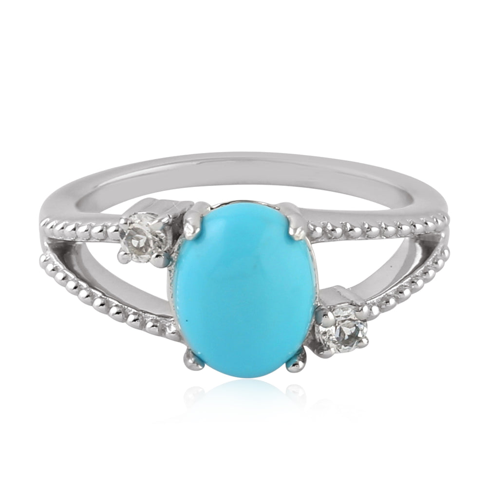 Silver 925  0.25 Ct Turquoise Cocktail Ring December Birthstone Jewelry