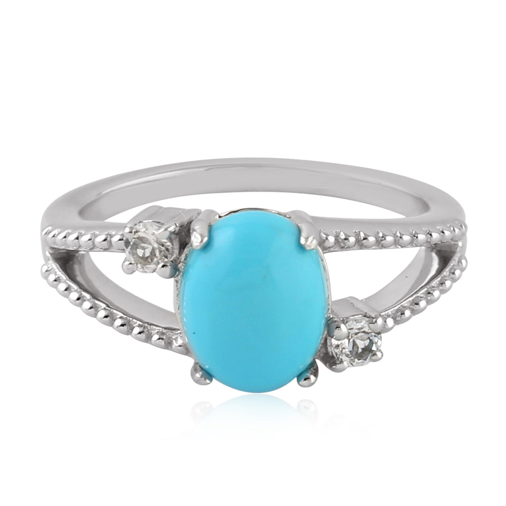 White Topaz 1.7ct Turquoise Sterling Silver 3 Stone Ring Fashion Jewelry