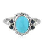 Silver 925 Turquoise Cocktail Ring December Birthstone Jewelry Christmas Gift