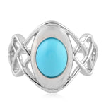 Silver 925  1.5 Ct Turquoise Cocktail Ring December Birthstone Jewelry