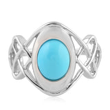 Sterling Silver 1.5ct Turquoise Gemstone Celtic Knot Ring Handmade Jewelry