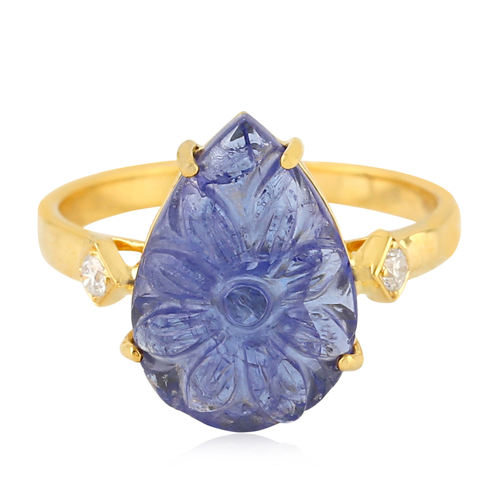 Solid Yellow Gold 0.07ct Real Diamond Pear Shaped Carved Tanzanite Cocktail Ring