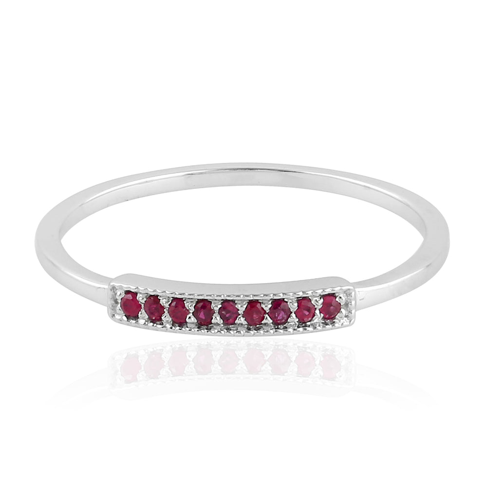 July Ruby Birthstone Sterling Silver Ring for Women Christmas Gift