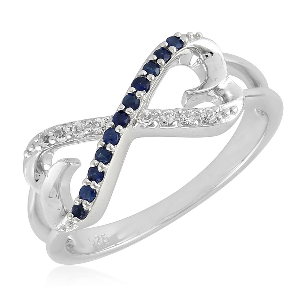 White Topaz 0.13ct Blue Sapphire Sterling Silver Pave Infinity Ring Size 7