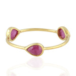 July Ruby Birthstone Three Stone Band Ring Christmas Gift