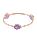 Valentine Gift Three-Stone Ring Amethyst 18k Rose Gold Jewelry ING-7334 February Birthstone Jewelry