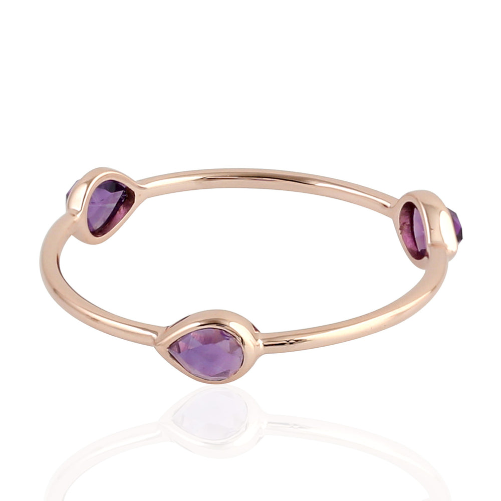 Valentine Gift Three-Stone Ring Amethyst 18k Rose Gold Jewelry ING-7335 February Birthstone Jewelry