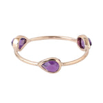 Valentine Sale Three-Stone Ring Amethyst 14k Rose Gold Jewelry ING-7458 February Birthstone Jewelry