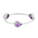 Valentine Sale Three-Stone Ring Amethyst 10k White Gold Jewelry ING-7493 February Birthstone Jewelry