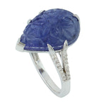 9.32 Natural Tanzanite Cocktail Ring 18K White Gold Diamond Jewelry